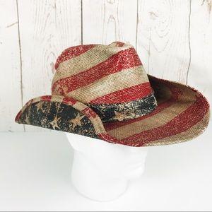 American Flag Patriot USA Straw Cowboy Hat